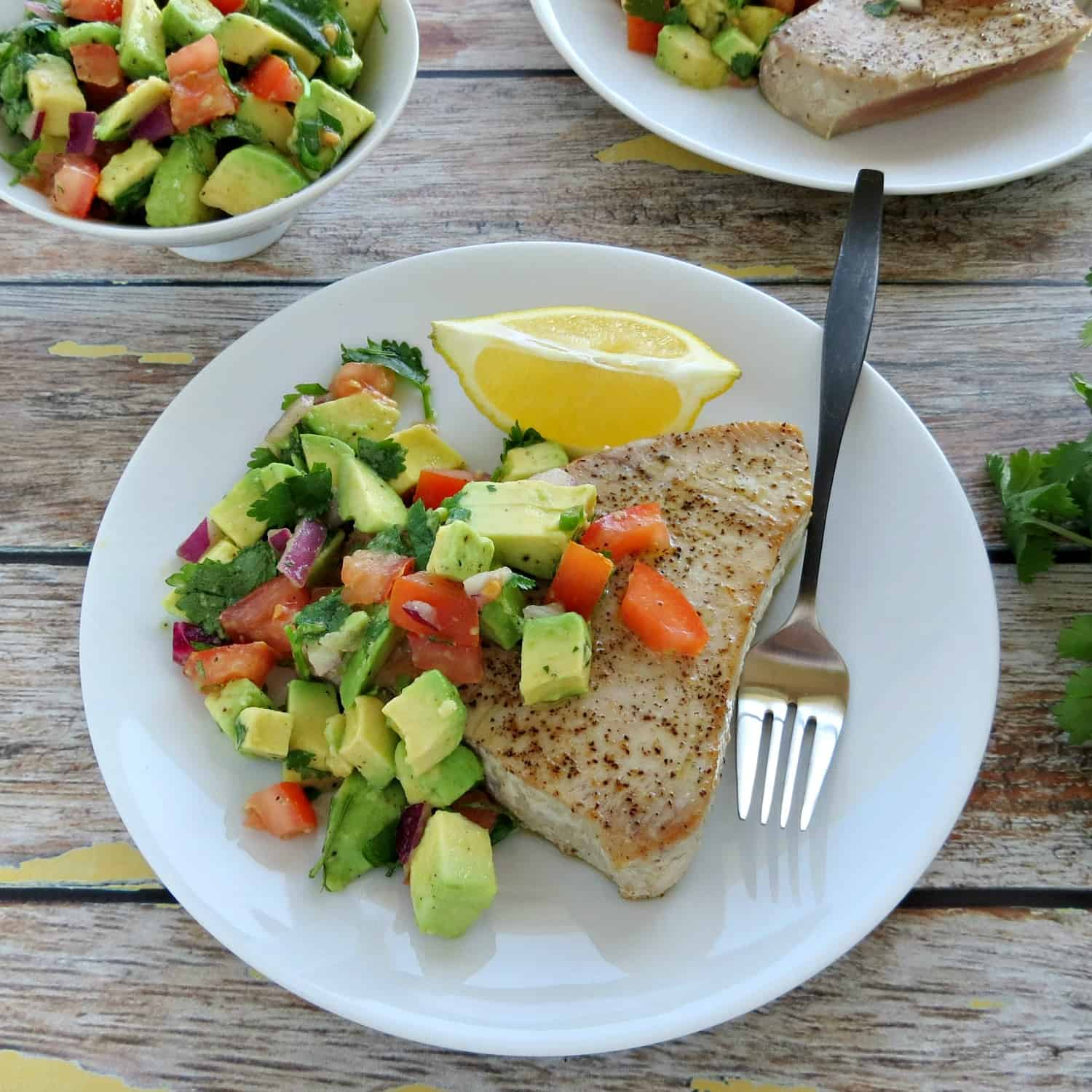 Pan Seared Ahi Tuna Steaks with Avocado Salsa - Overhead