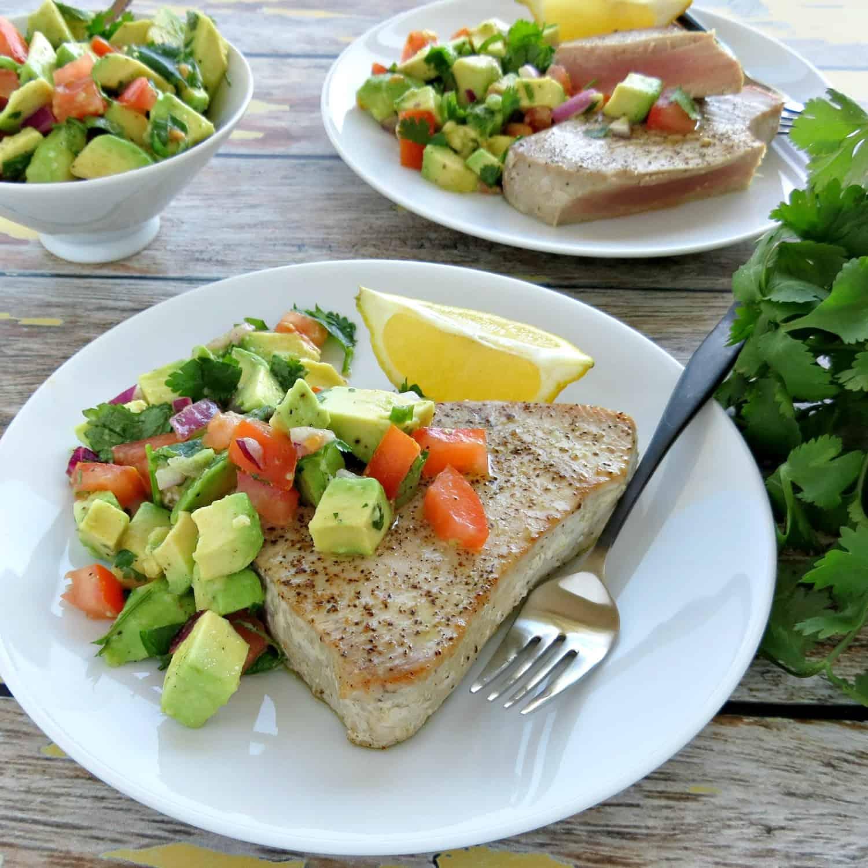 Pan Seared Ahi Tuna Steaks with Avocado Salsa Recipe