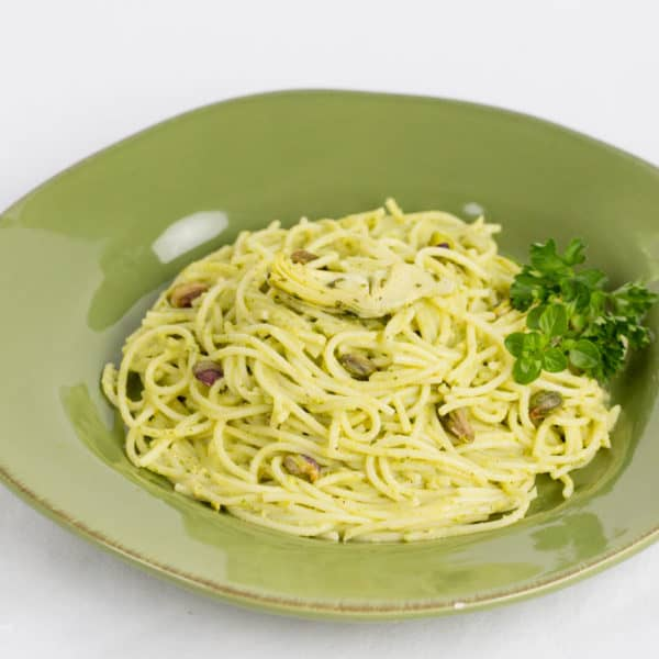Gluten Free Spaghetti with Artichoke and Pistachio Pesto Recipe
