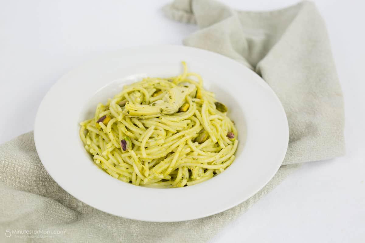 Spaghetti with Artichoke and Pistachio Pesto