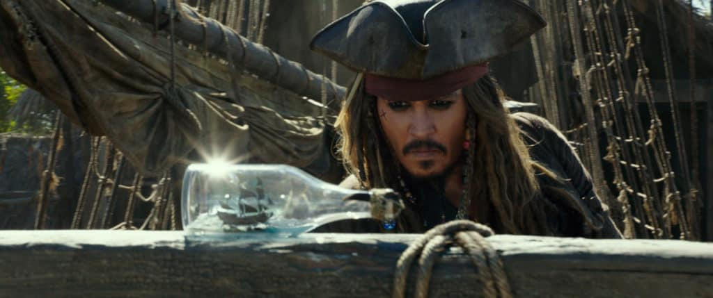Jack Sparrow (Johnny Depp) with the Black Pearl in a bottle - Pirates of the Caribbean: Dead Men Tell No Tales