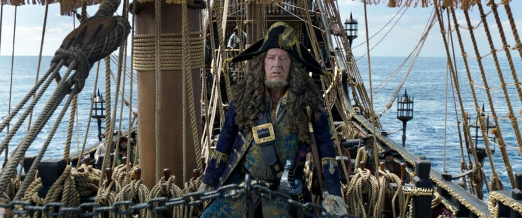 Geoffrey Rush as Captain Barbossa in Pirates of the Caribbean