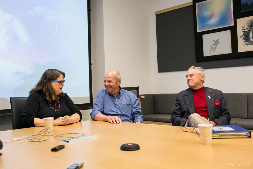 Disney Archivist Becky Cline with Donnie Dunagan and Peter Behn