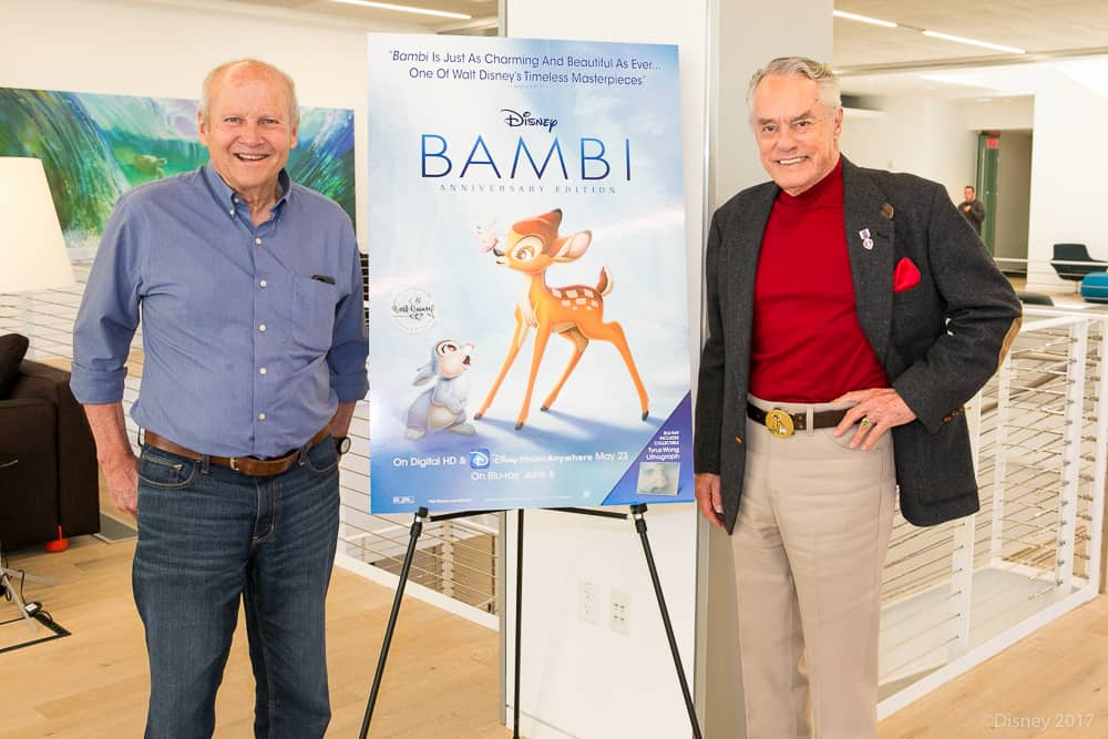 Donnie Dunagan and Paul Behn with Bambi Sign - Voices of Young Thumper and Bambi