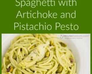 Gluten Free Spaghetti with Artichoke and Pistachio Pesto
