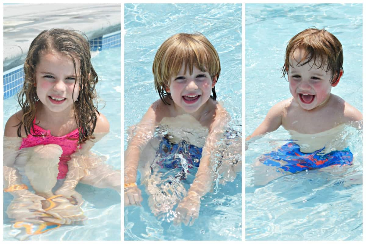 Jennifer Dawn's kids swimming in the summer