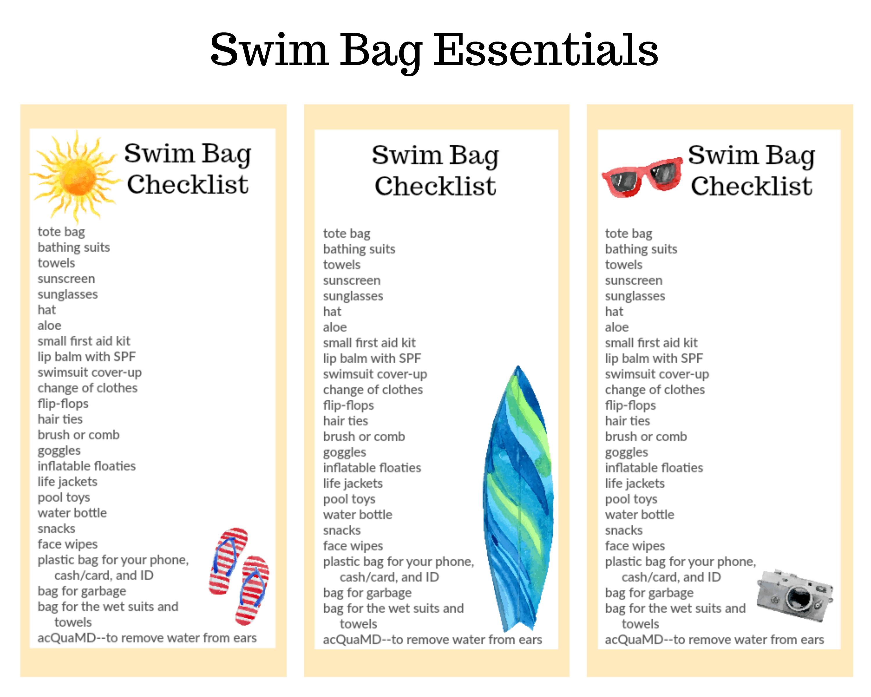 Swim Bag Checklists