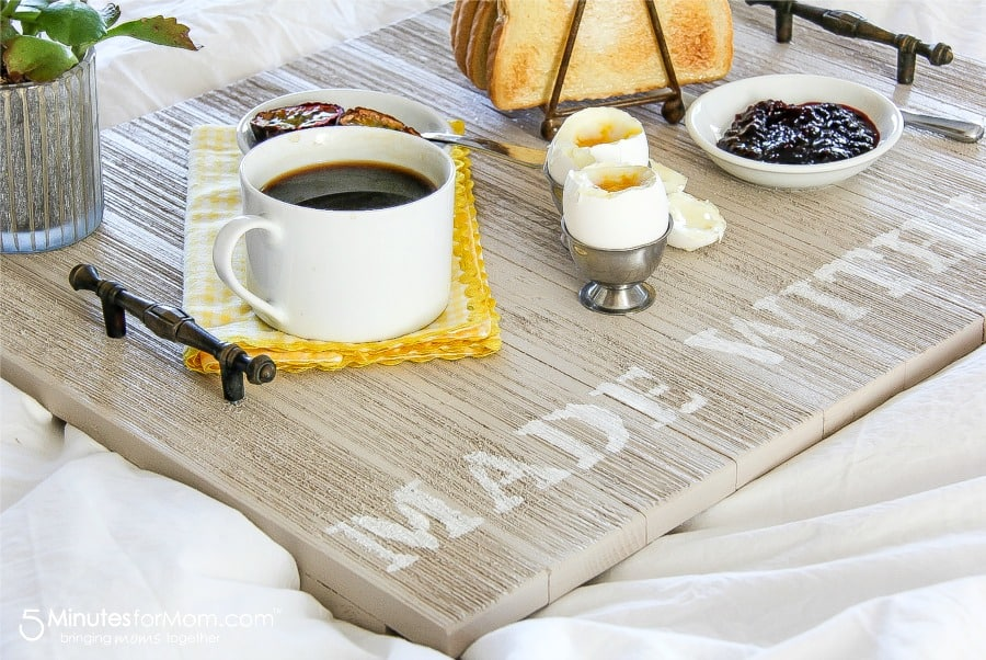 DIY Wooden Breakfast Tray - Handmade Gift For Dad