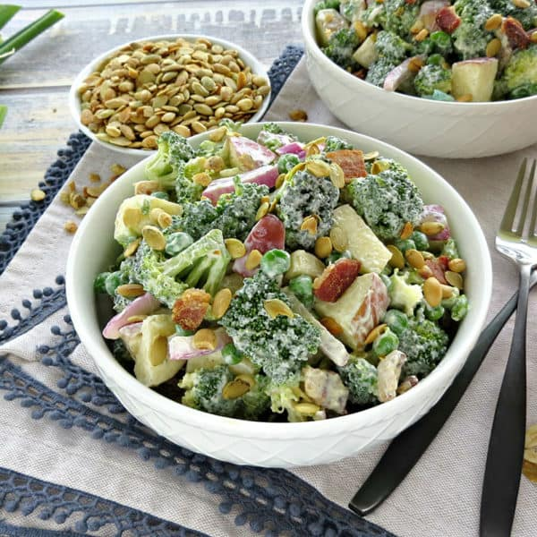 Lightened Up Broccoli Salad with Bacon