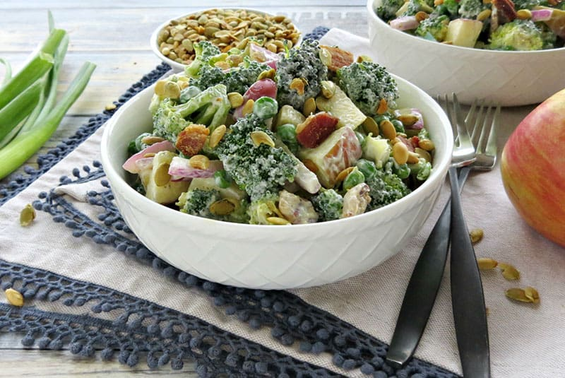 Lightened Up Broccoli Salad with Bacon. Broccoli salad is perfect any time of year. It's a great side dish or even a meal in itself!