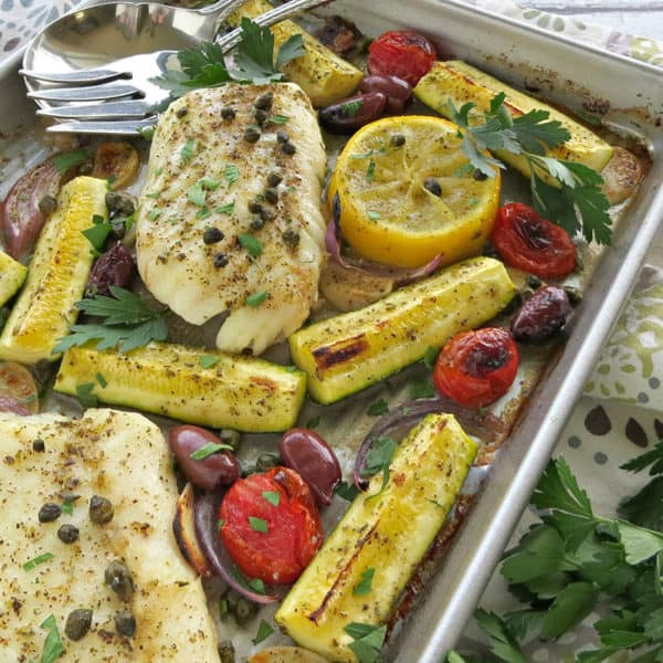 Mediterranean Cod Sheet Pan Dinner Recipe