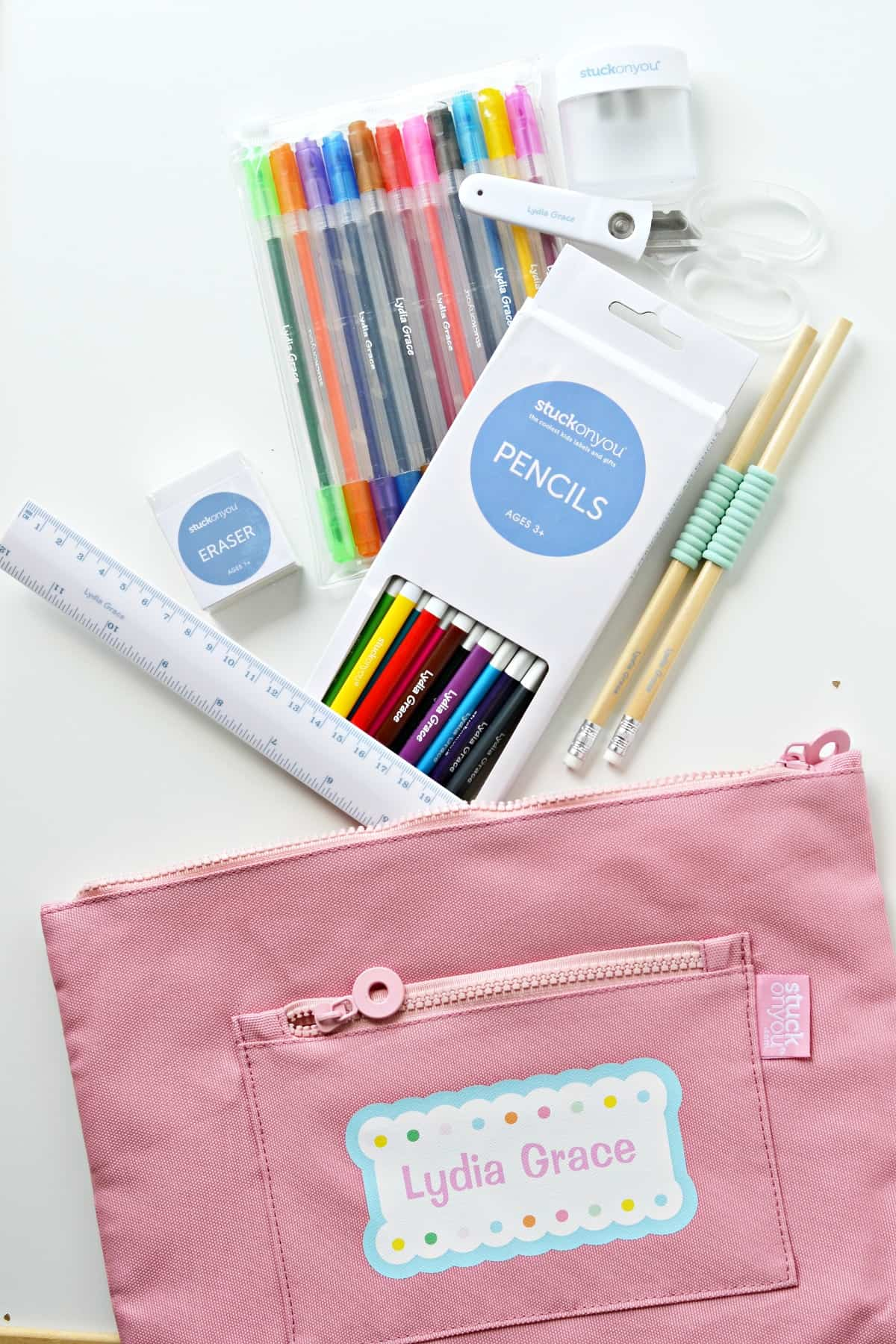 Personalized school supplies from Stuck on You