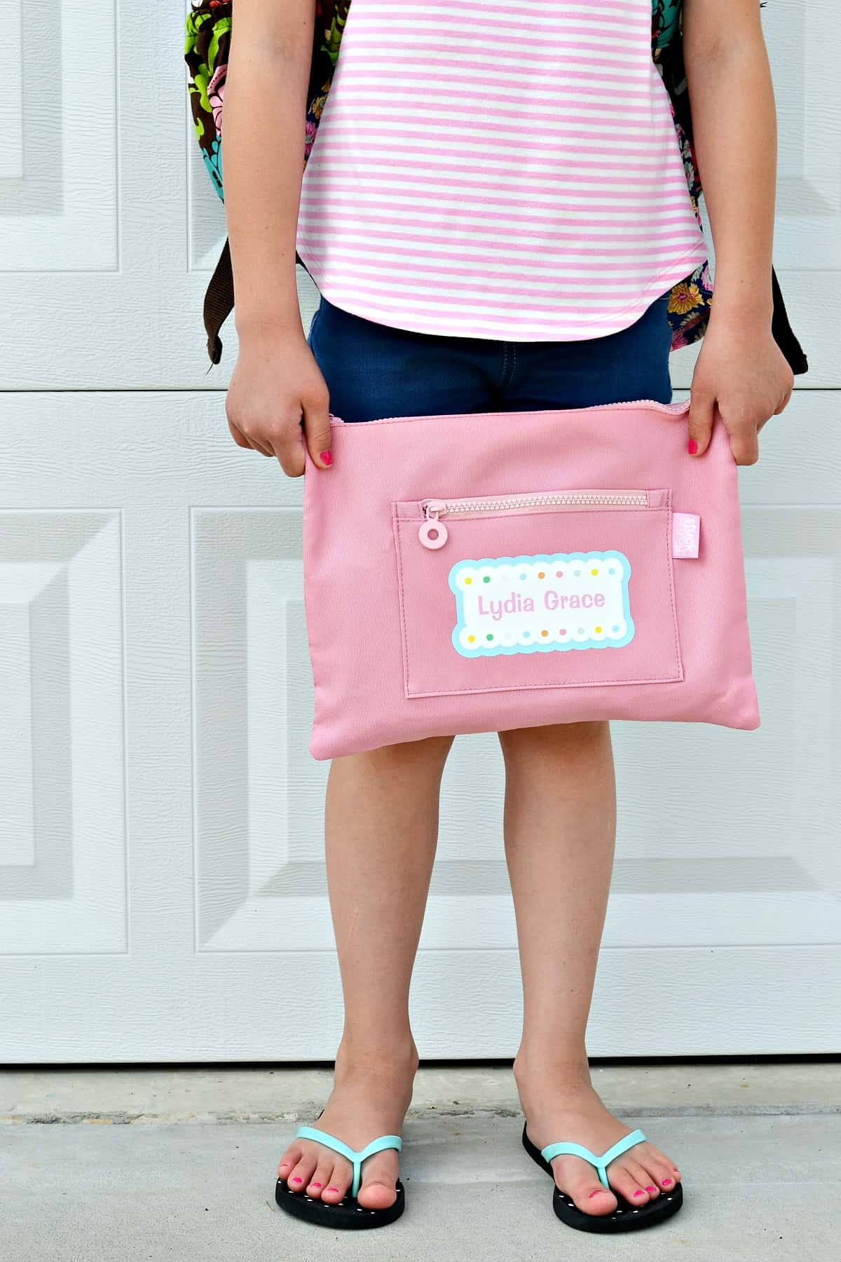 Personalized school supply pouch