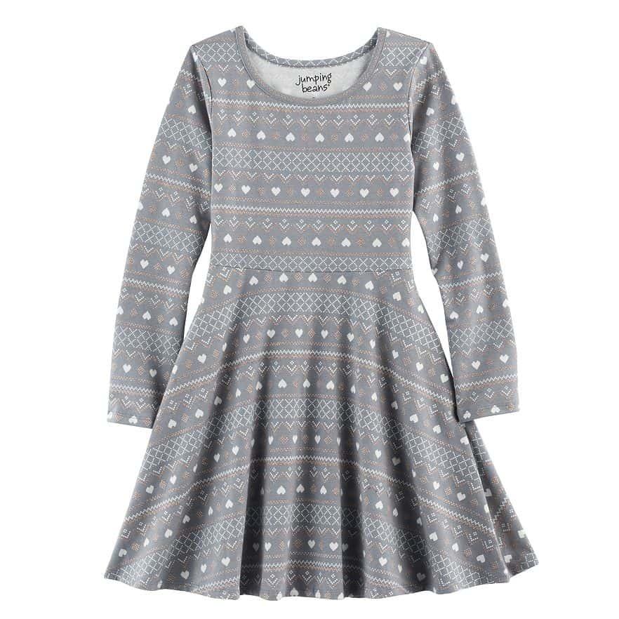 Girls 4-10 Jumping Beans Long-Sleeved Print Skater Dress