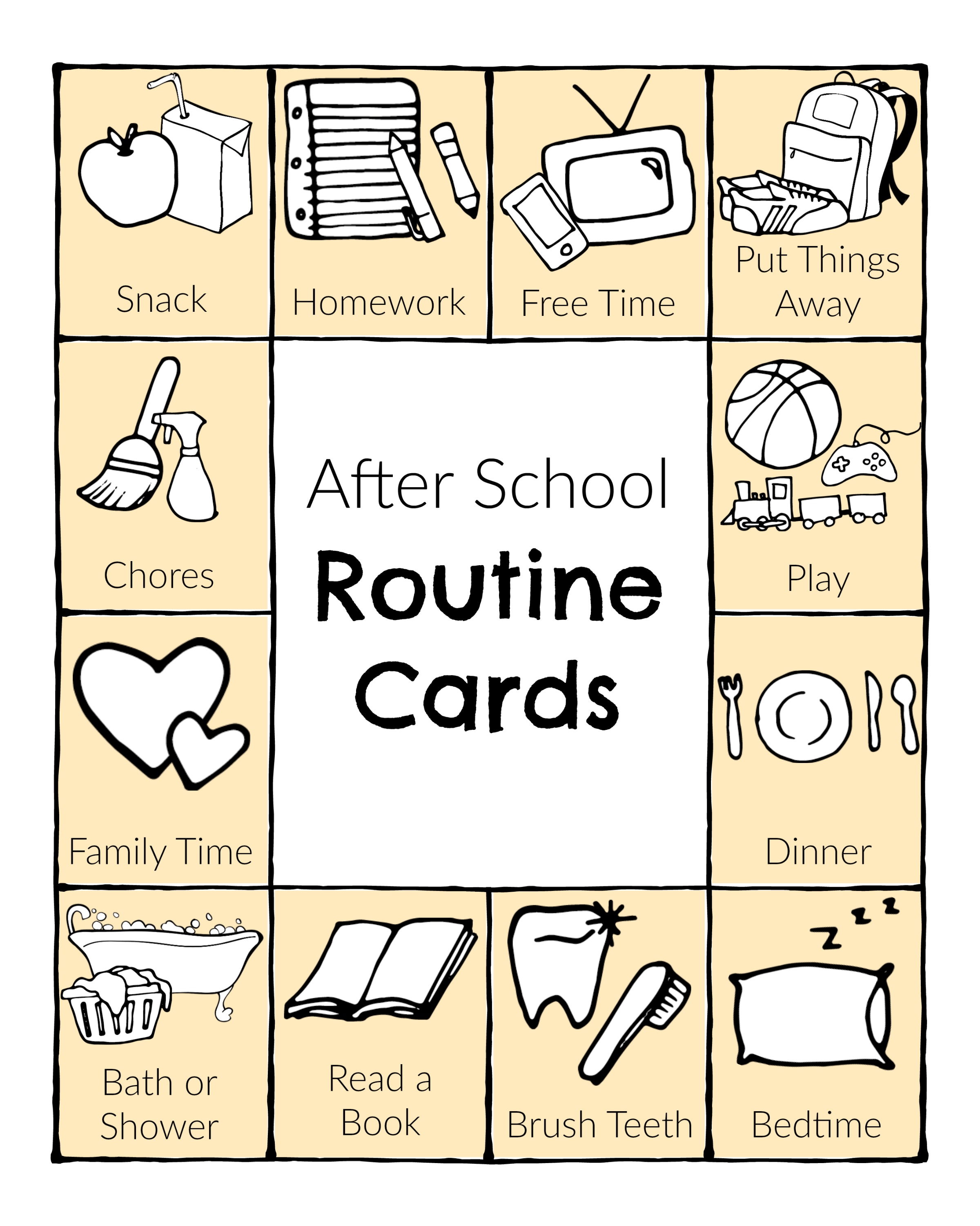 After School Routine Cards Printable