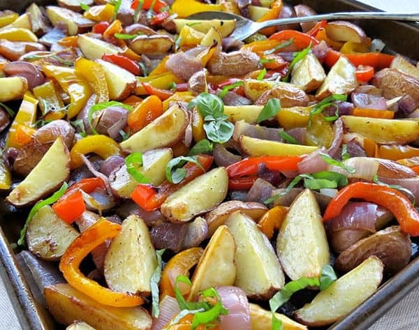 Oven Roasted Potatoes & Peppers Recipe