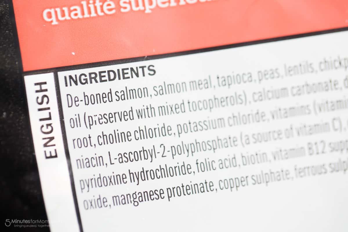 Petcurean Nutrition Label