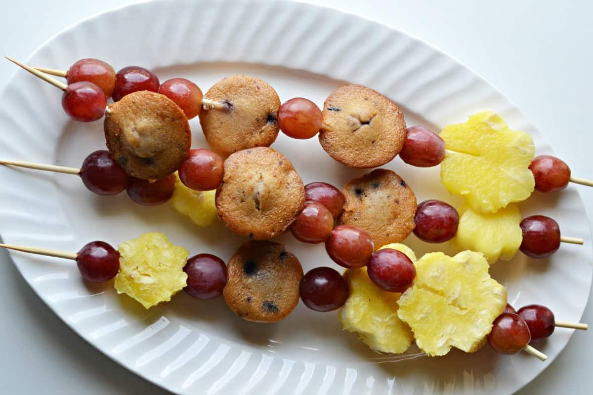 fruit and muffin kabobs - kids snack