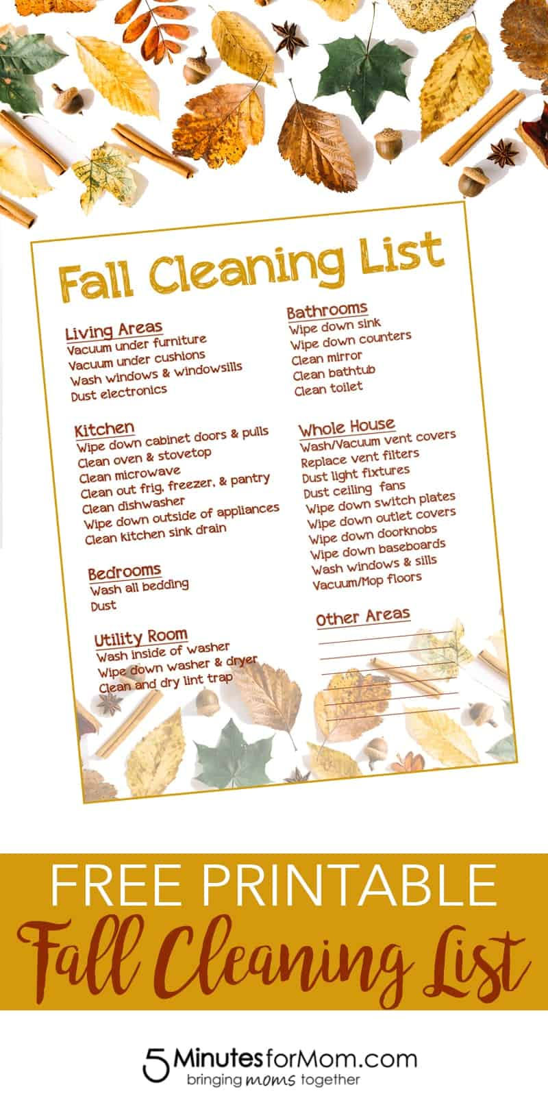 Free Fall Cleaning List Printable from 5 Minutes for Mom