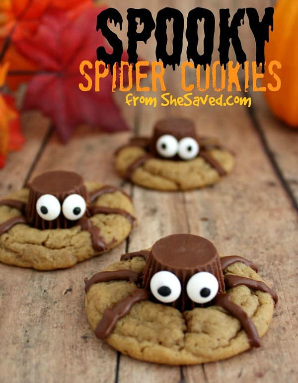 Halloween Spider Cookies from She Saved