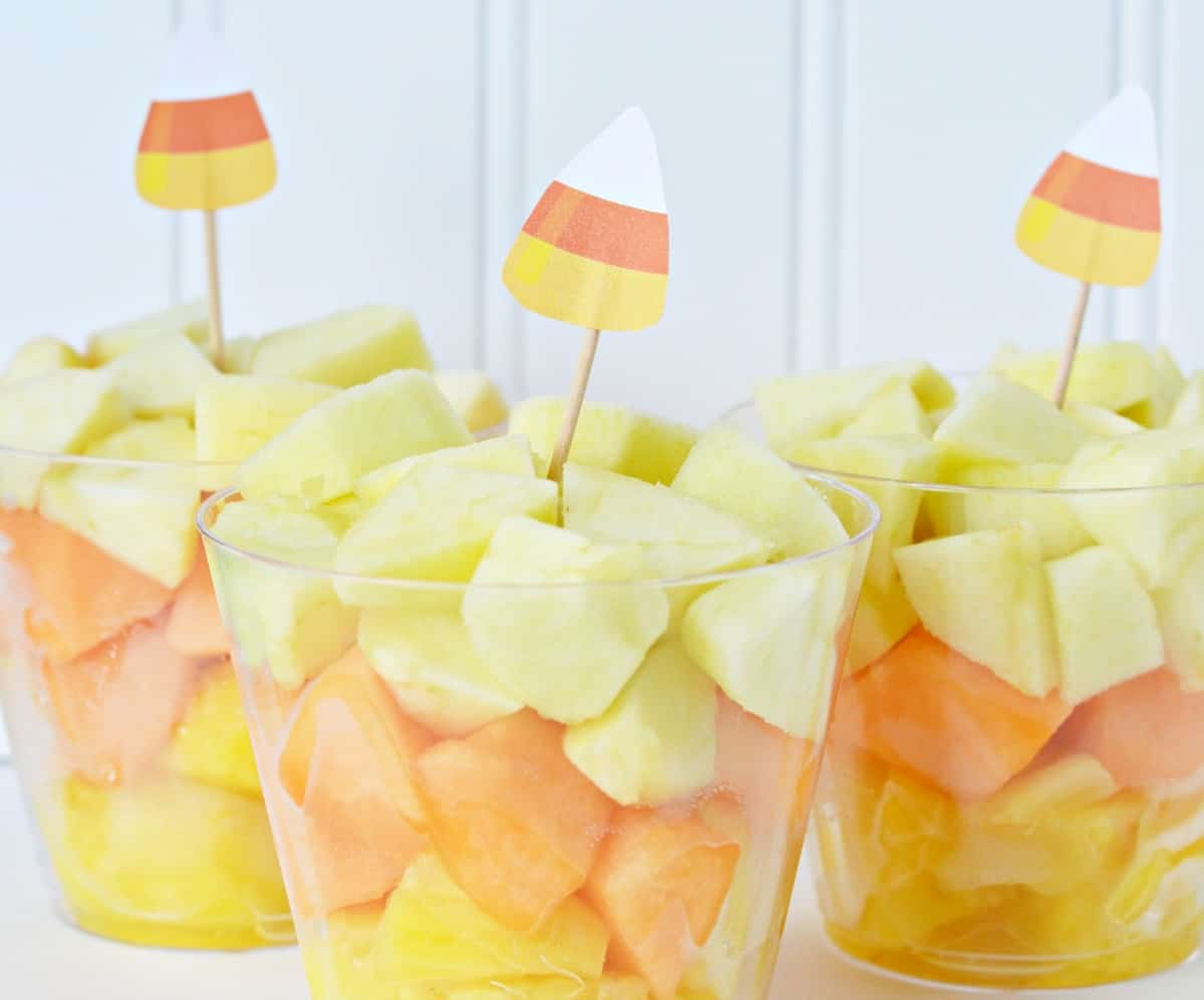 candy corn fruit cups for halloween