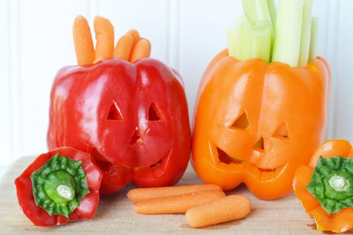 jack o lantern veggie snacks