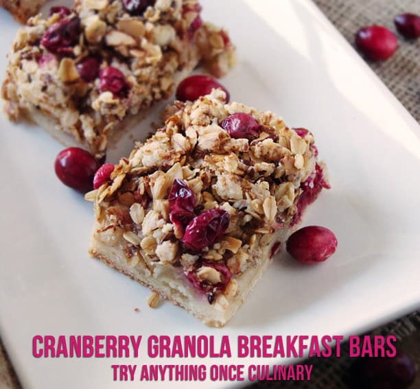 Cranberry Granola Breakfast Bars from Try Anything Once Culinary