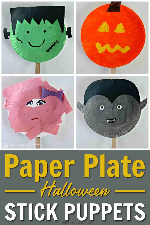 Halloween Paper Plate Stick Puppets