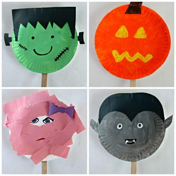 Paper Plate Halloween Stick Puppets – Easy Halloween Craft For Kids