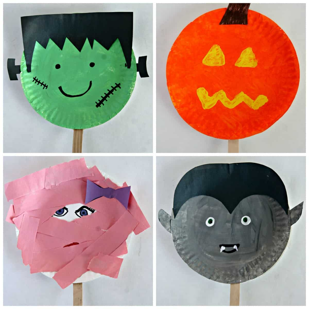 Paper plate halloween stick puppets easy halloween craft for Easy paper plate crafts