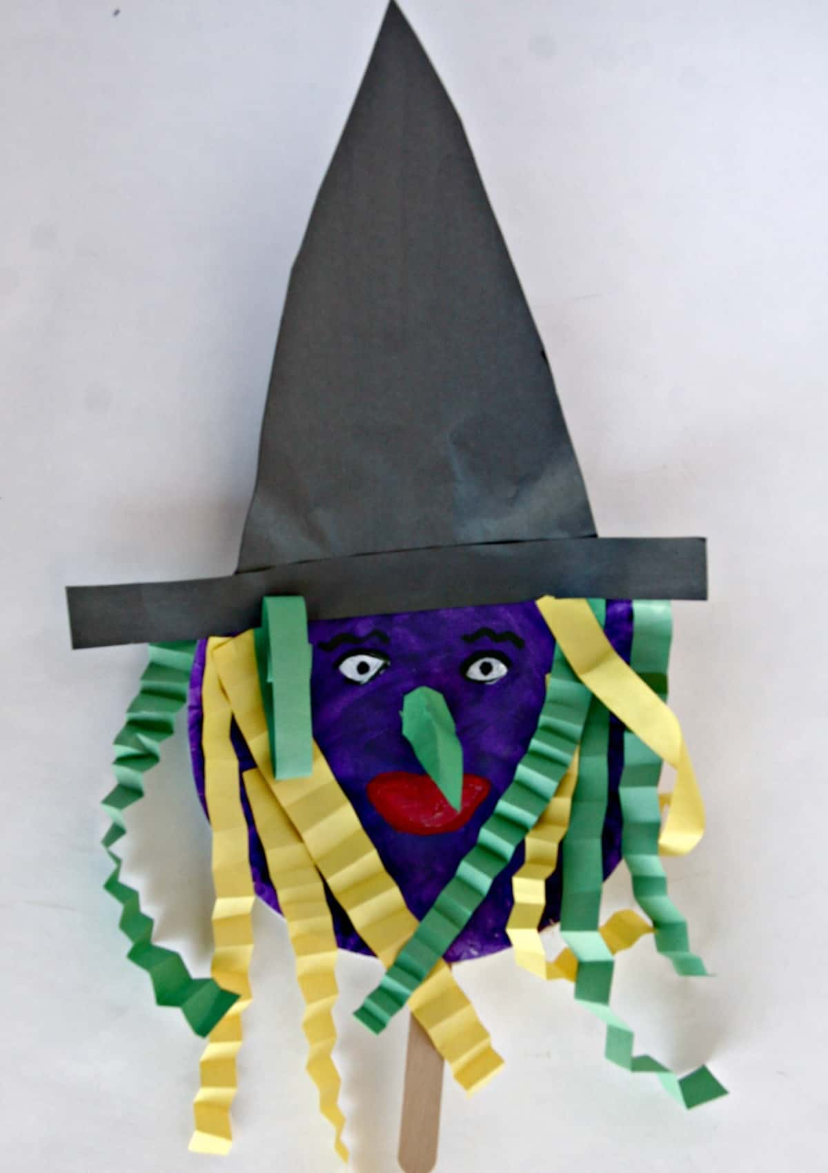 Witch Paper Plate Halloween Stick Puppet