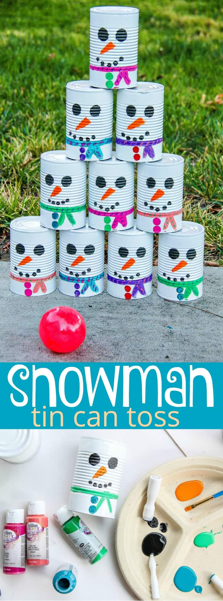DIY Snowman Tin Can Toss Game