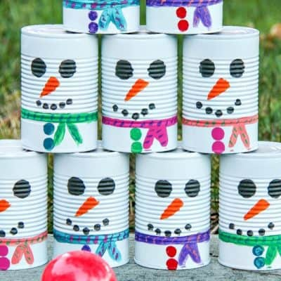 DIY Snowman Tin Can Toss – Fun Winter Activity For Kids
