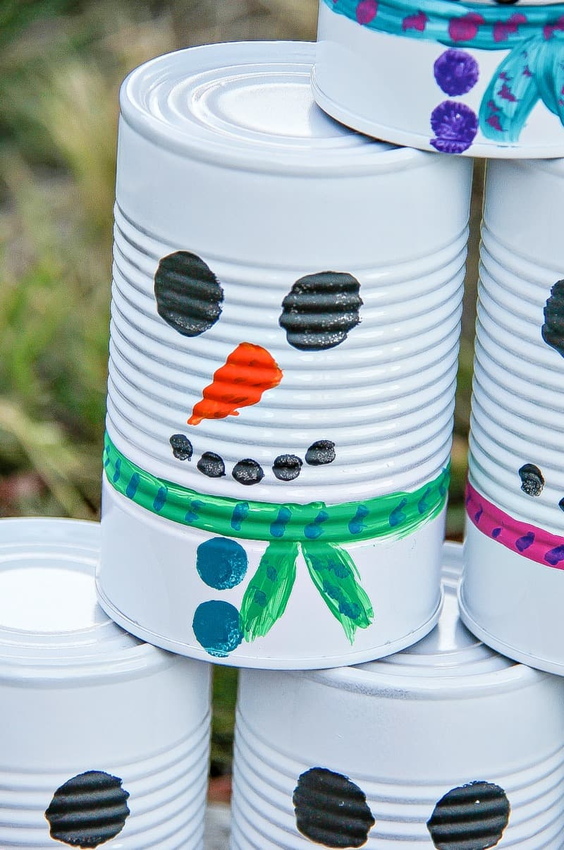 How to make a snowman tin can toss game