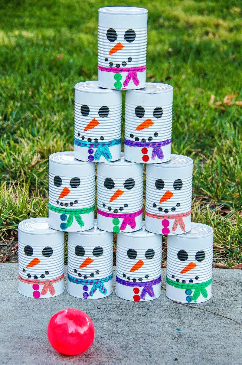 Snowman Tin Can Toss Game