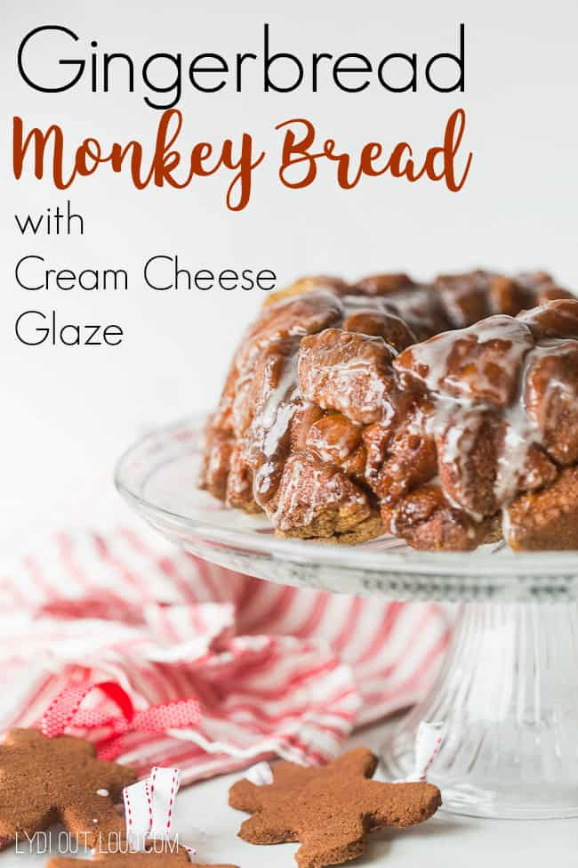 Gingerbread Monkey Bread with Cream Cheese Glaze Recipe from Lydi Outloud