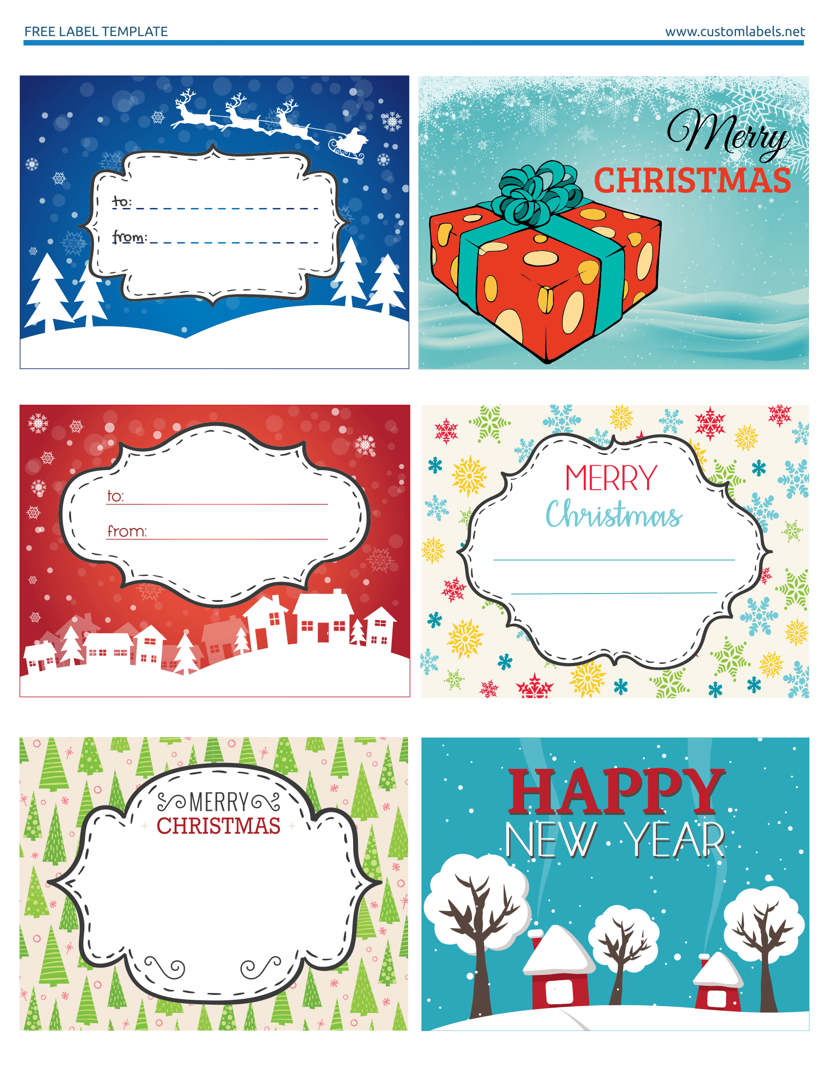 graphic relating to Christmas Tags Printable named Pleasurable and Colourful Xmas Labels - No cost Printables
