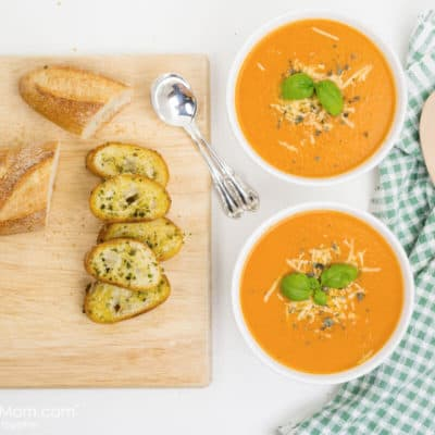 Easy Fresh Tomato Soup Recipe with Parmesan Baguette