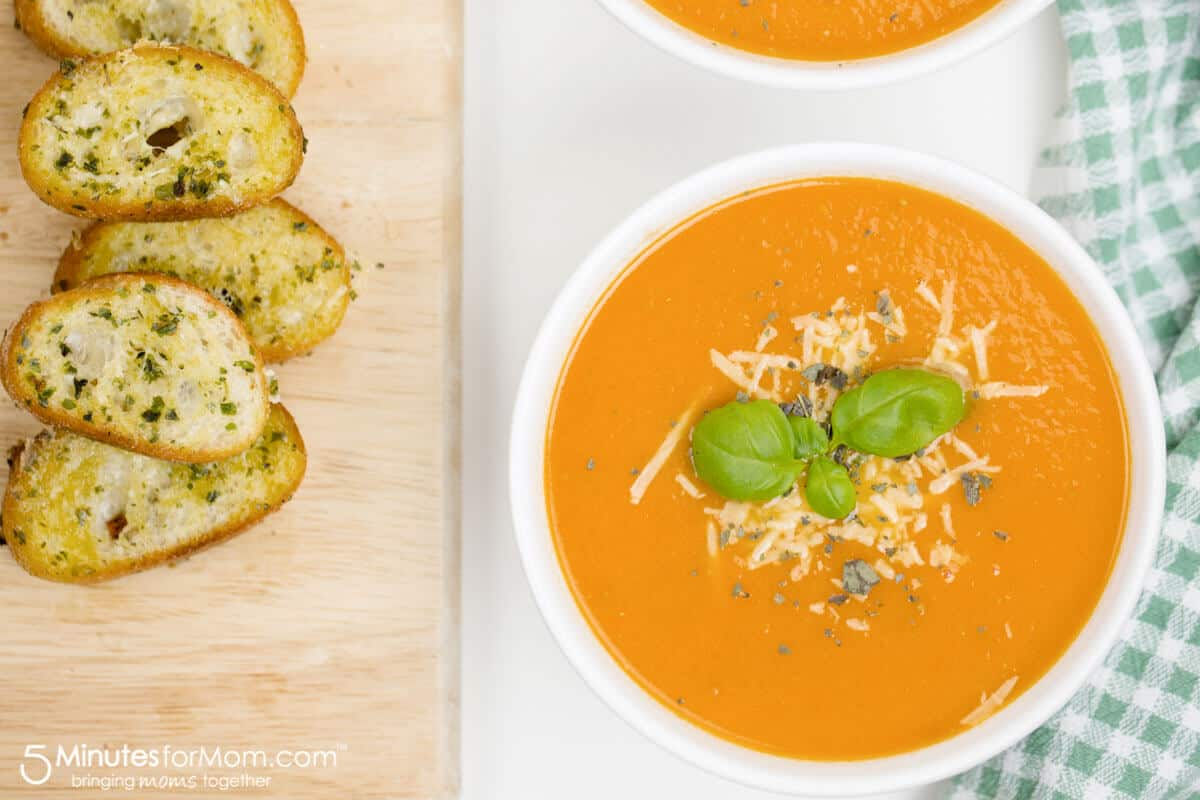 Easy Tomato Soup and Parmesan Baguette