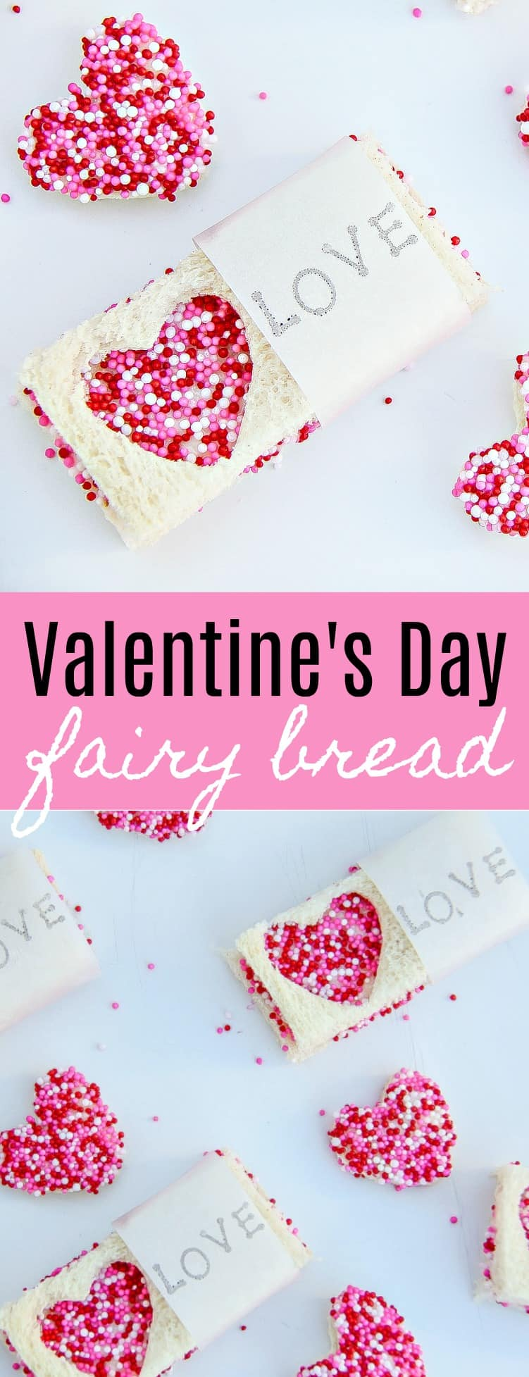 Valentine's Day Fairy Bread - How to make easy Valentine's Day fairy bread treats for kids. #ValentinesDay #Treat