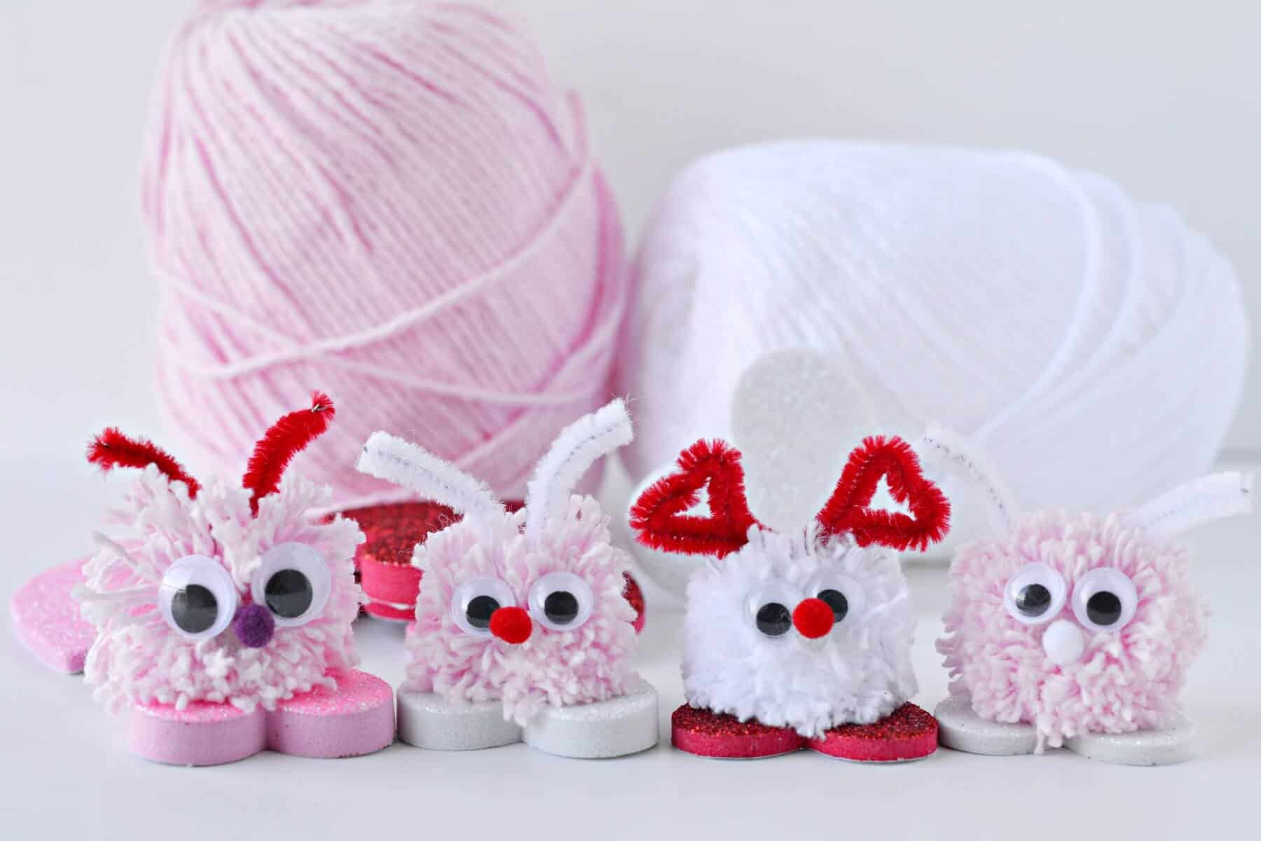 cute pom pom bugs for valentine's day