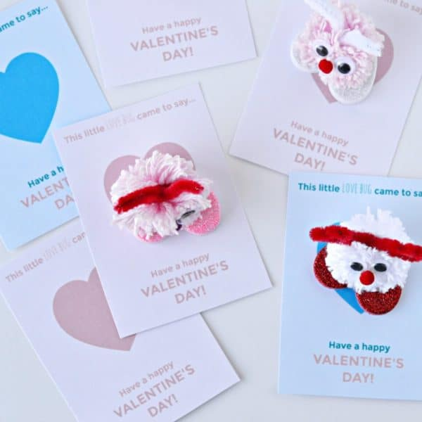 Pom-Pom Love Bug Valentines — Craft Tutorial and Free Printable Valentine's Day Cards