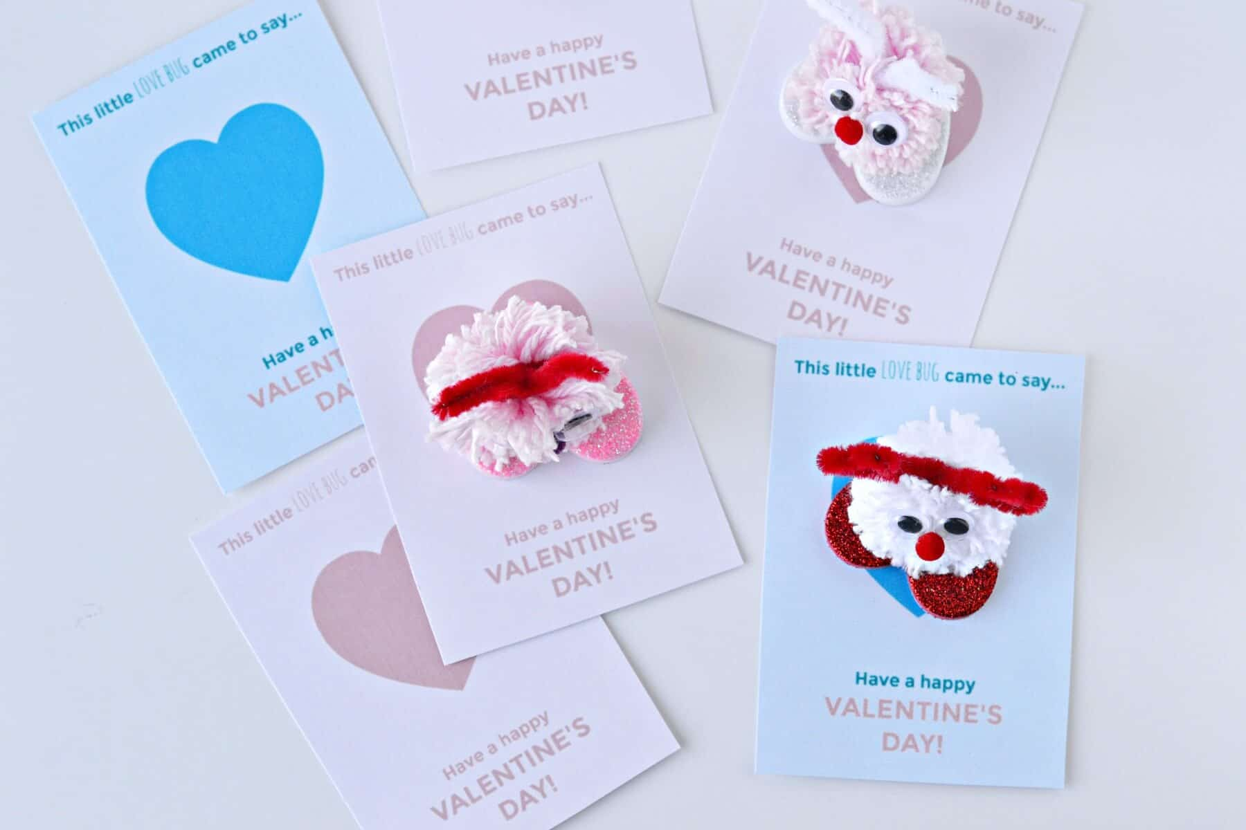 photograph regarding Printable Valentine Craft identified as Pom-Pom Enjoy Bug Valentines -- Craft Manual and Totally free