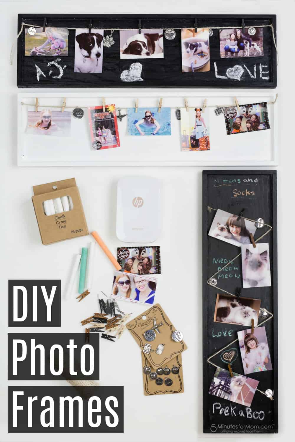 DIY Photo Frames - Photo Craft Idea - Chalkboard Paint Photo Frame