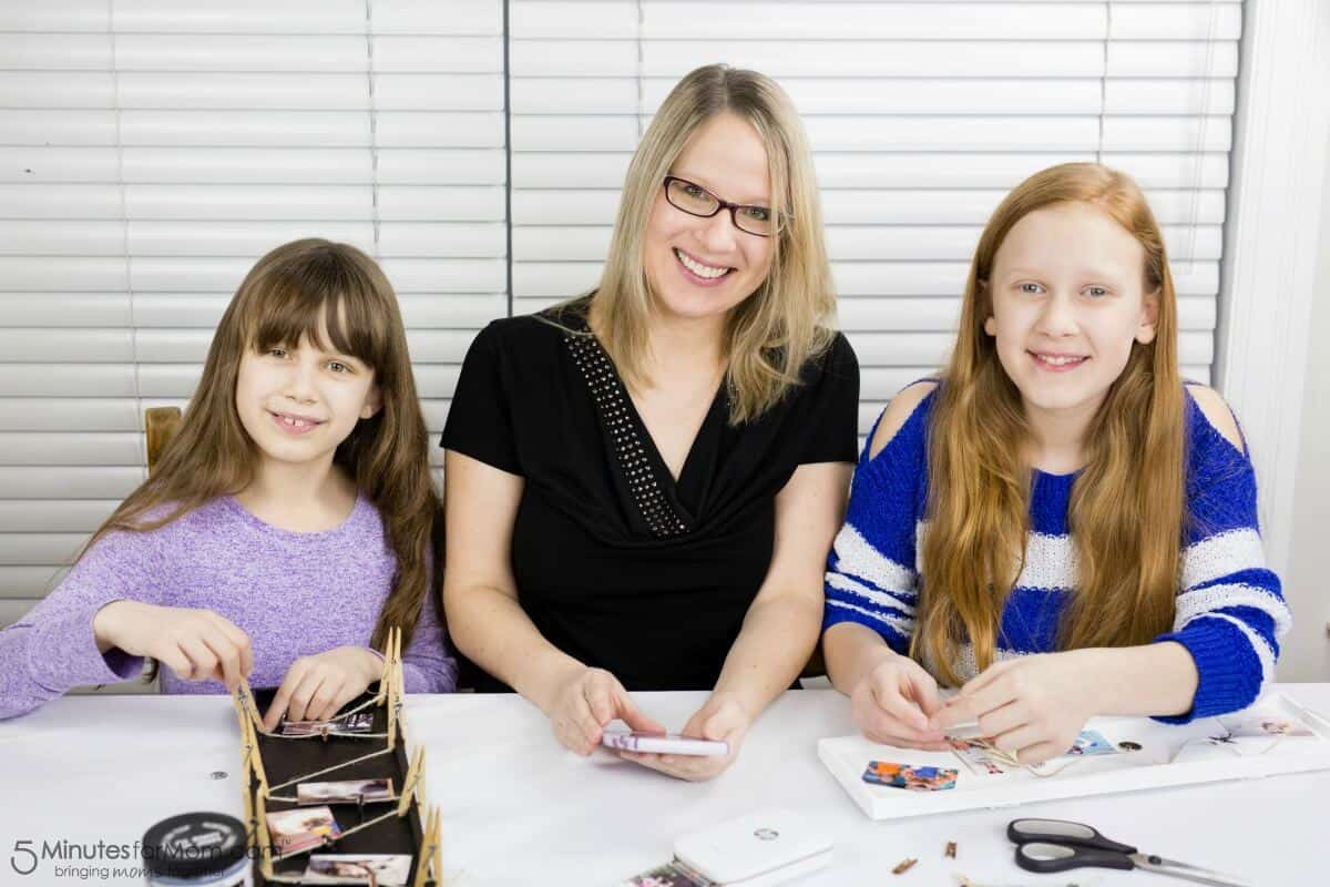 Family Day Activity - Susan with Daughters Making Photo Frame