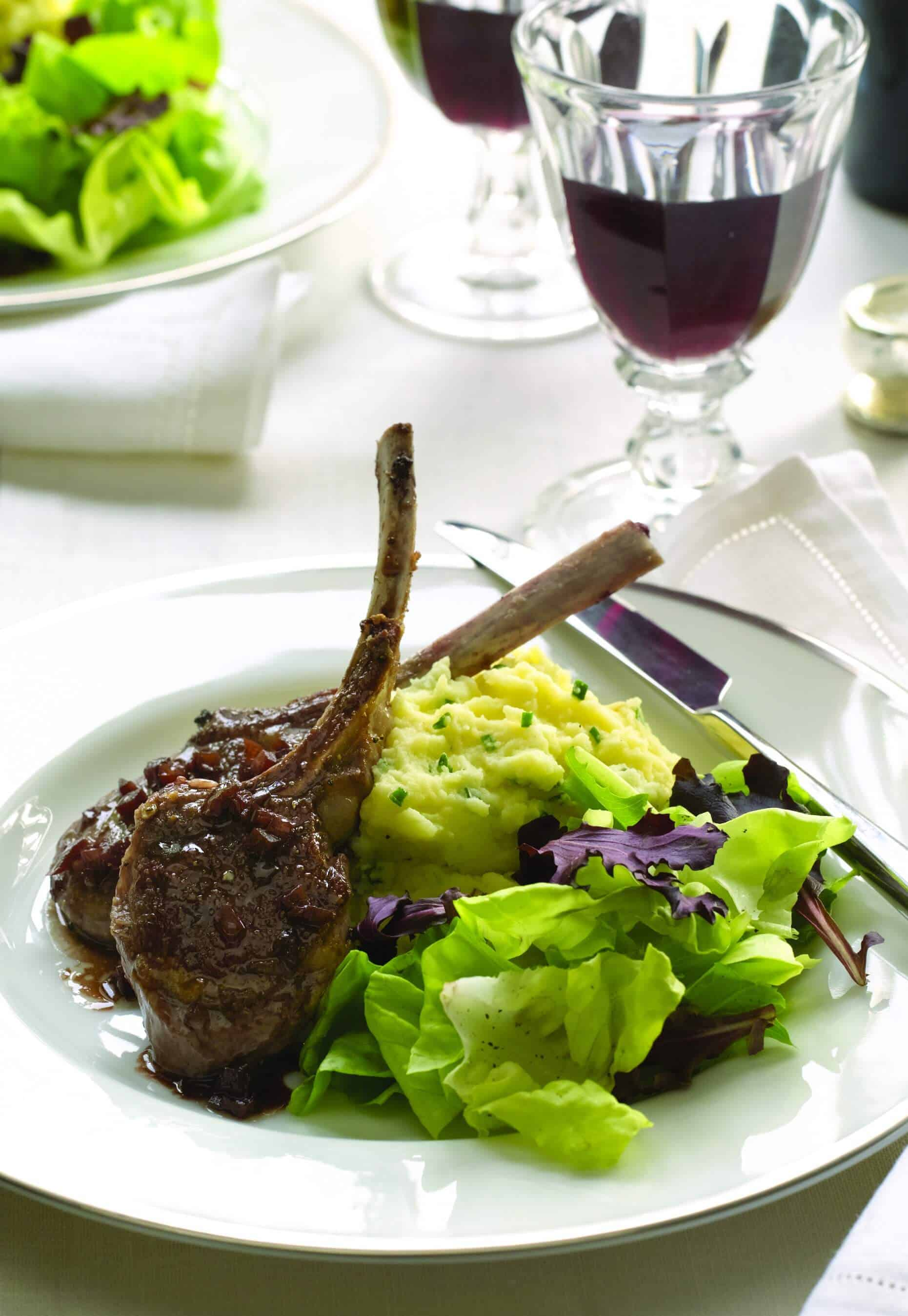 Baby Lamb Chops with Red Wine Sauce Recipe