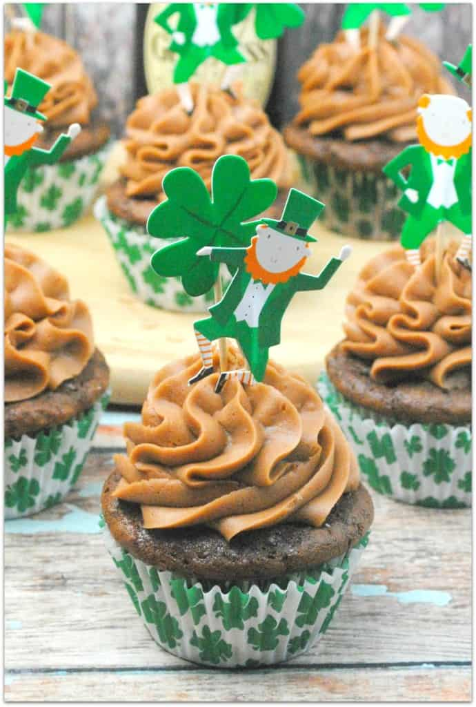 Guinness Cupcakes with Sweet Cream Chocolate Frosting from Kelly Stilwell