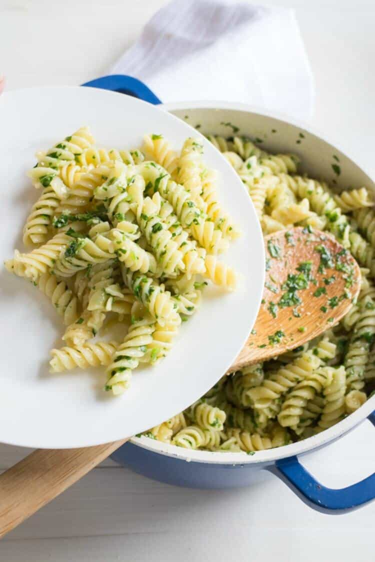 Parsley Parmesan Pasta from Brookklyn Farm Girl