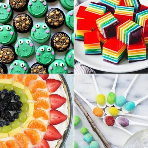 Four recipe photos showing cute rainbow and green treats