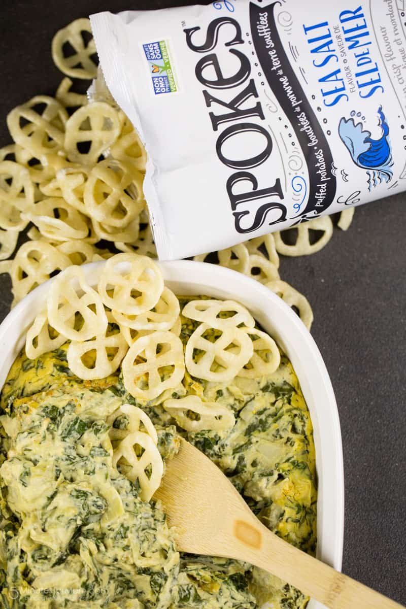 Vegan Spinach and Artichoke Dip with SPOKES Air-Puffed Potato Snacks